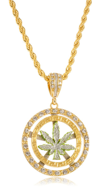 Sandblast Marijuana Leaf Double Circle And Stones Medium Pendant With A 30 Inch 5mm Rope Chain (Goldtone)