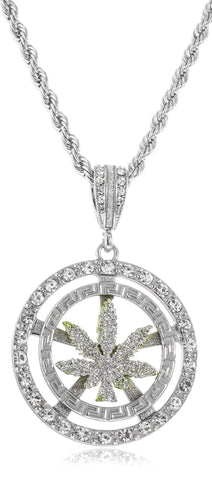 Sandblast Marijuana Leaf Double Circle And Stones Medium Pendant With A 30 Inch 5mm Rope Chain (Silvertone)