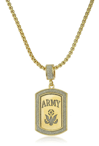 "Sandblasted ""Army"" Micro Pendant With A 24 Inch Box Chain (Goldtone)"