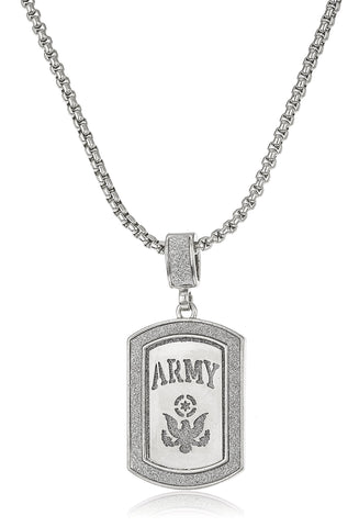 "Sandblasted ""Army"" Micro Pendant With A 24 Inch Box Chain (Silvertone)"