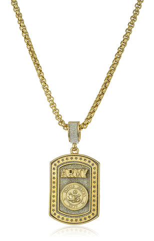 "Sandblasted ""United States Army"" Star Micro Pendant With A 24 Inch Box Chain (Goldtone)"