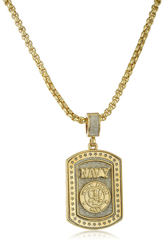 "Sandblasted ""United States Navy"" Micro Pendant With A 24 Inch Box Chain (Goldtone)"