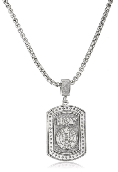 "Sandblasted ""United States Navy"" Micro Pendant With A 24 Inch Box Chain (Silvertone)"