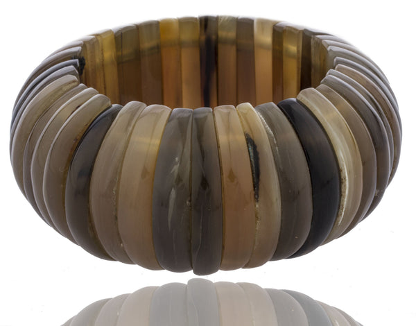 Shades Of Brown Simulated Buffalo Horn Stretch Bracelet