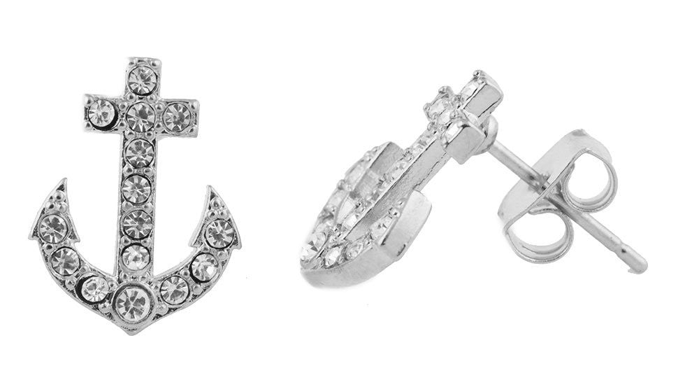 Silver Iced Out Anchor Stud Earrings...