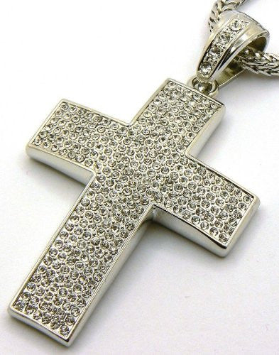 Silver Iced Out Cross Pendant And...