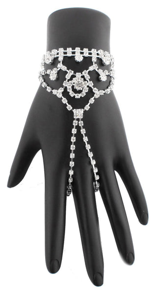 Silver Iced Out Elegant Adjustable Finger Ring Hand Chain Bracelet