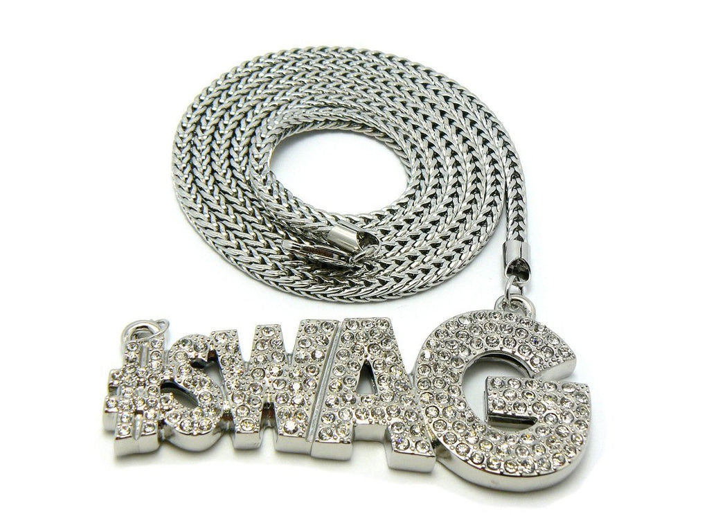 Silver Iced Out #Swag Pendant And...