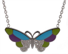 Silver Stainless Steel Iced Out Multicolor A Butterfly Pendant With An 18 Inch Necklace