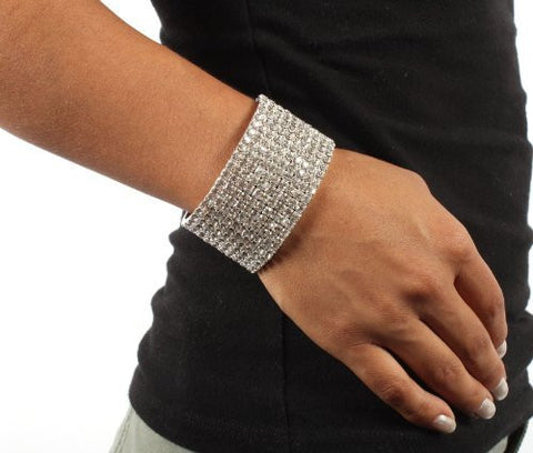 Silver With Clear Iced Out Ladies 10 Row Stretch Bracelet
