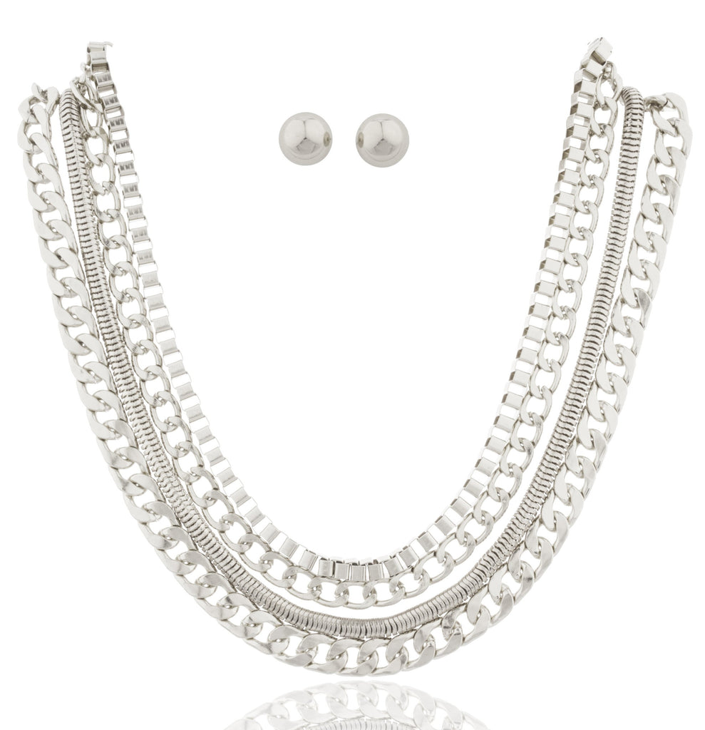 Silvertone 17-24 Inch Adjustable Assorted Necklace...