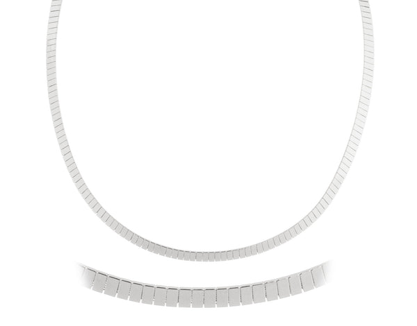 Silvertone 18 Inch Flat Design Omega Chain Choker Necklace