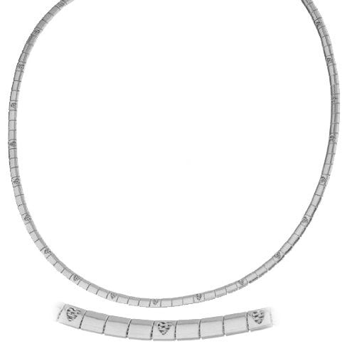 Silvertone 18 Inch Heart Design Omega Chain Choker Necklace
