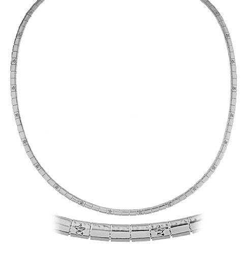 Silvertone 18 Inch Star Design Omega Chain Choker Necklace