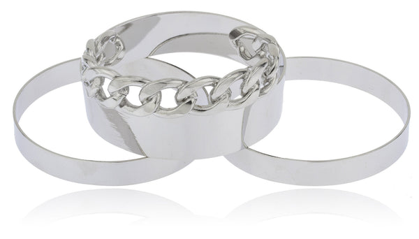 Silvertone 2.75 Inch Four Piece Bundle Bangle