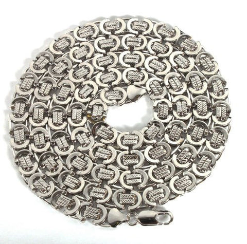 Silvertone 36 Inch Byzantine Chain Necklace