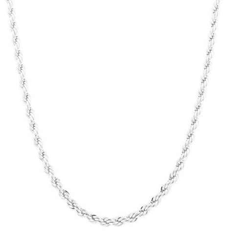 Silvertone 6mm 30 Inch Rope Chain Necklace