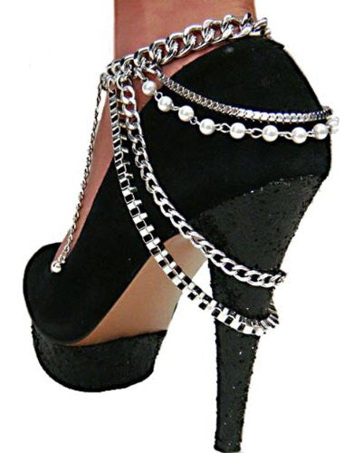 Silvertone Adjustable Heel Chain With Multiple...