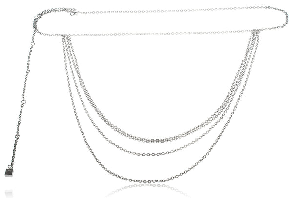 Silvertone Adjustable Length Multiple Tier Link Belt Chain