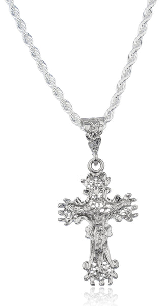 Silvertone Ancient Design Jesus Pendant With A Brass 4mm Rope Chain Necklace (36 Inches)