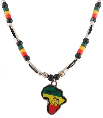 Silvertone And Multicolors Rasta Africa Shape Lion Of Judah Pendant And 24 Inch Adjustable Beaded Link Necklace Chain