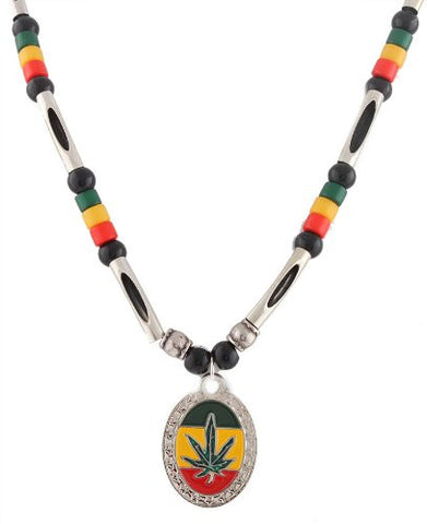 Silvertone And Multicolors Rasta Marijuana Pendant And 24 Inch Adjustable Beaded Link Necklace Chain