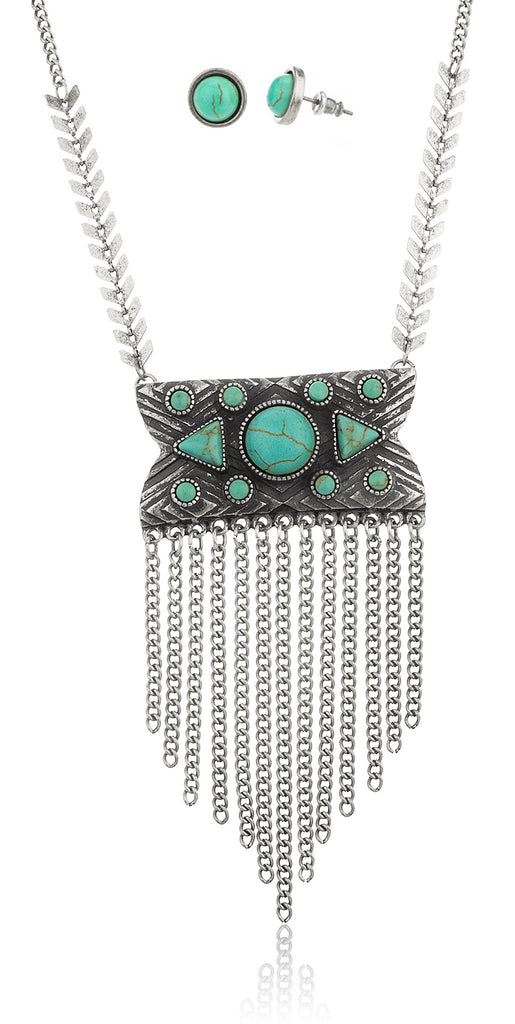 Silvertone Antique Chain And Turquoise Necklace...