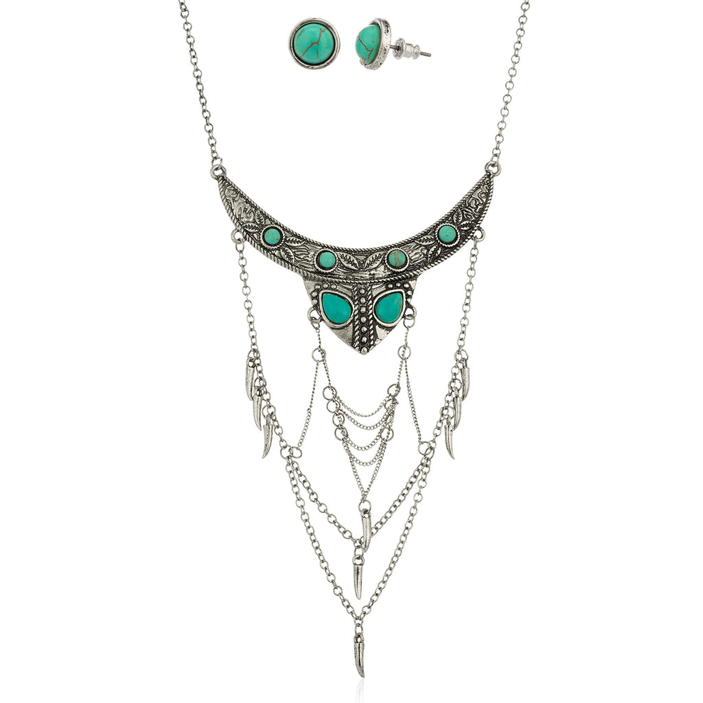 Silvertone Antique Turquoise Breastplate Necklace With...