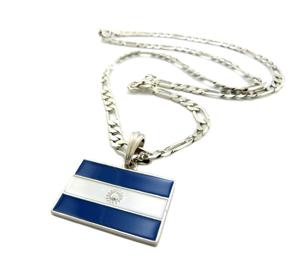Silvertone Argentina Flag Pendant With A 5mm 24 Inch Figaro Necklace