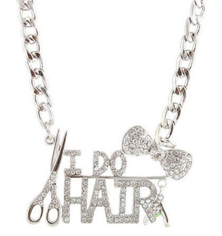 Silvertone Bow Tie & I Do Hair Pendant With A 22 Inch Adjustable Link Necklace