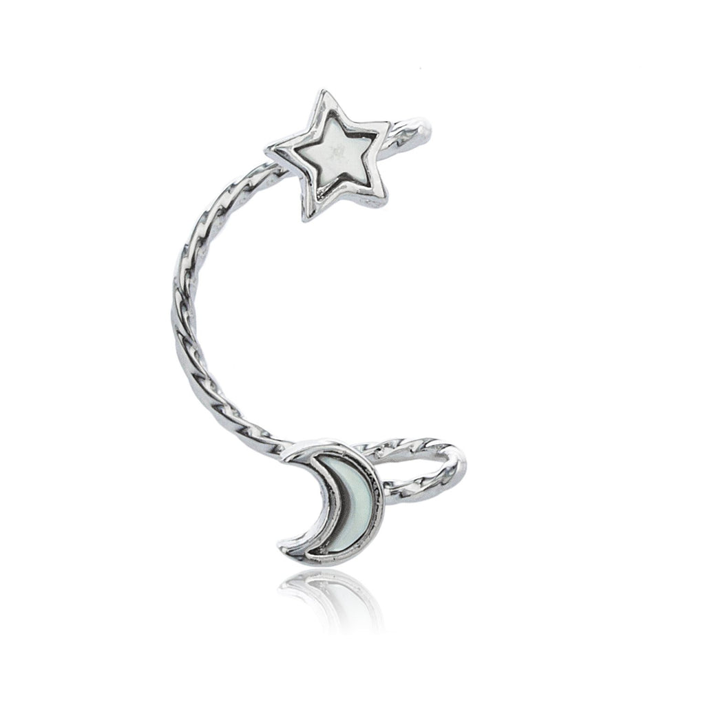 Silvertone Celestial Ear Cuff Earrings