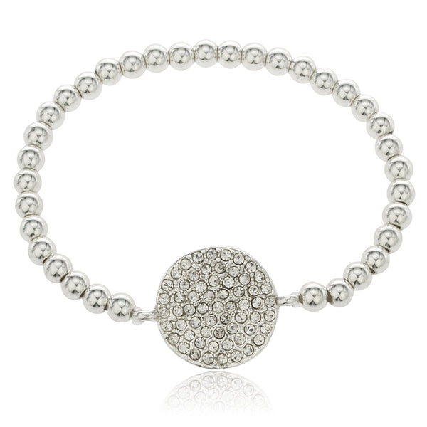 Silvertone Circle With Stones Beaded Stretch Bracelet