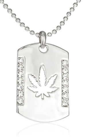 Silvertone Cut-out Marijuana With Stones Dog Tag On Ball Chain Necklace