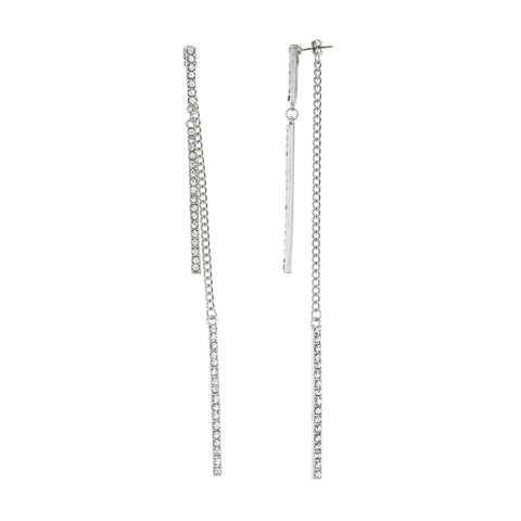 Silvertone Dangling Stone Bar Chain 6 Inch Drop Earrings