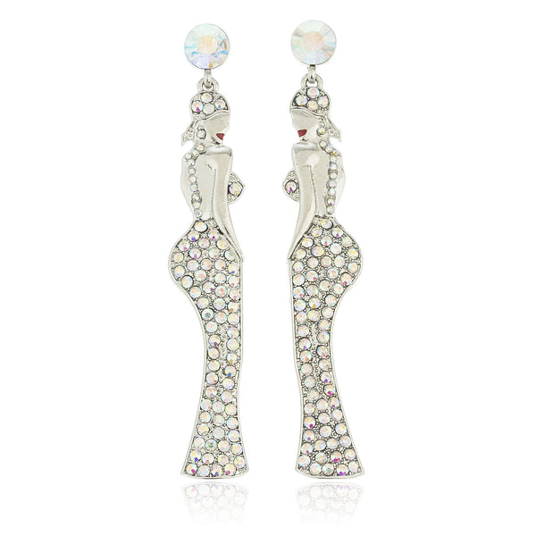 Silvertone Dangling Women Posing With Clear Stones Dangle Earrings