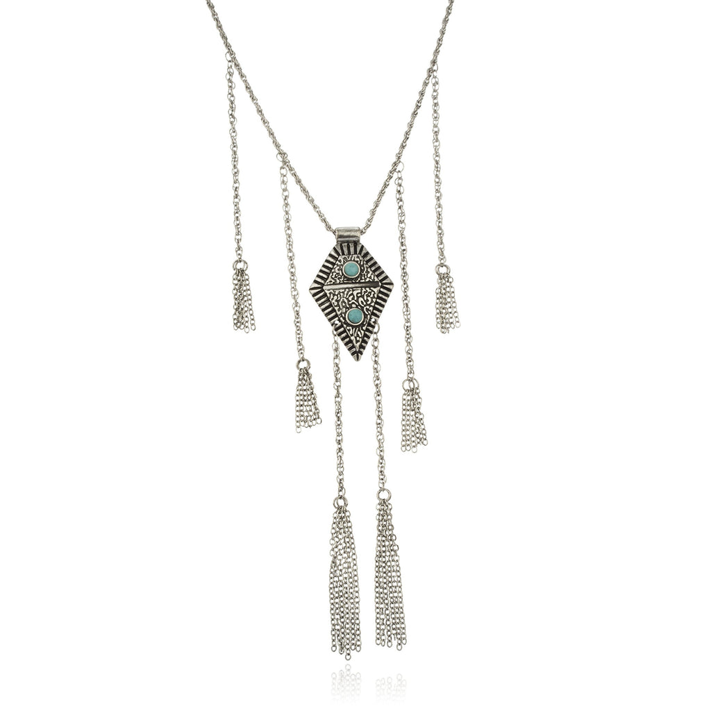 Silvertone Egyptian Antique Pendant With Dangling...