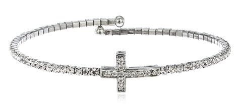 Silvertone Flex Cuff Bracelet With Clear Stones (Cross)
