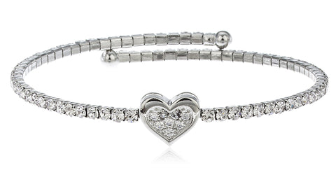 Silvertone Flex Cuff Bracelet With Clear Stones (Heart)
