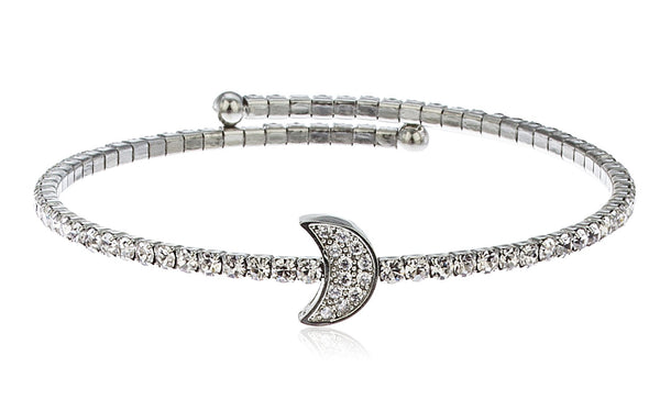 Silvertone Flex Cuff Bracelet With Clear Stones (Moon)