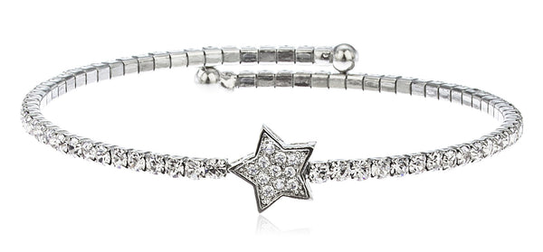 Silvertone Flex Cuff Bracelet With Clear Stones (Star)