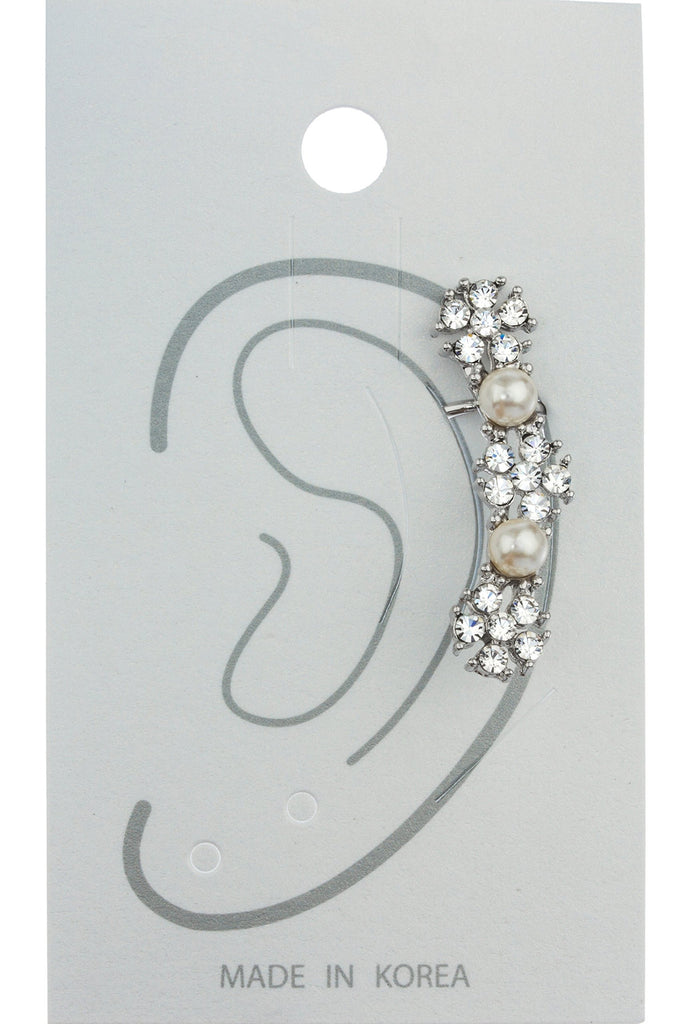 Silvertone Flower Ear Cuff Earrings With...
