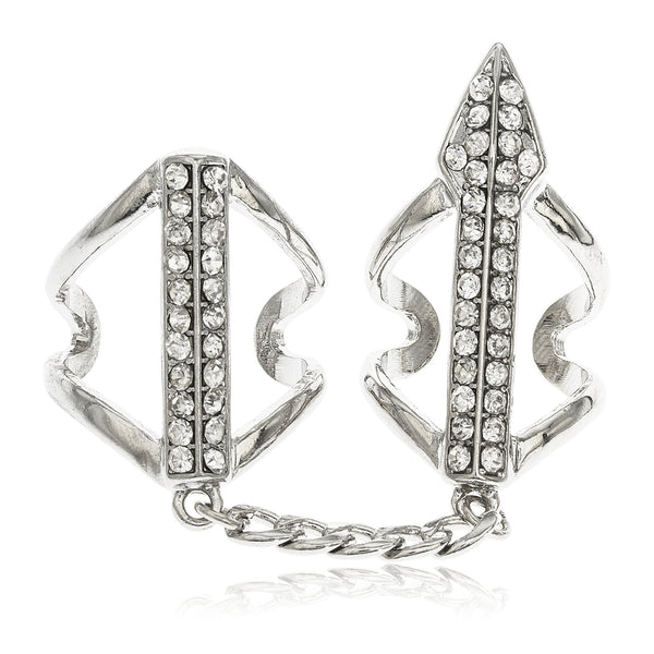 Silvertone Full Finger Arrow With Clear Stones Midi Finger Ring