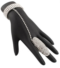 Silvertone Fully Iced Out Oval Style Adjustable Finger Ring And Slave Hand Chain Bracelet