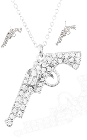 Silvertone Gun Pendant With Stones And An Adjustable 16-18 Inch Necklace And Matching Earrings Jewelry Set