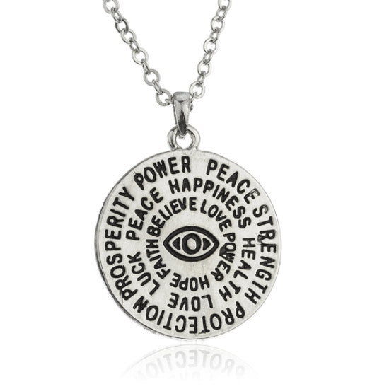 Hamsa and Eye Circle Pendant Link Necklace
