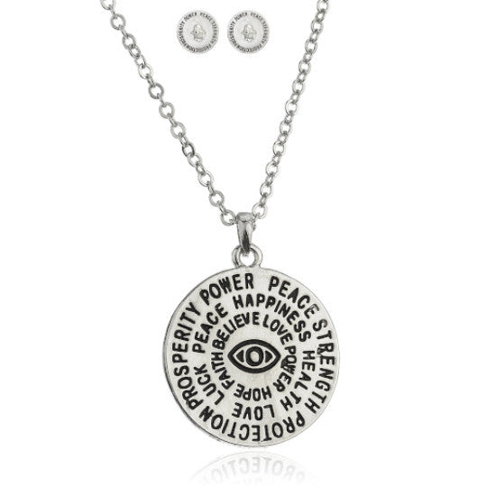 Silvertone Hamsa And Eye Double Sided...