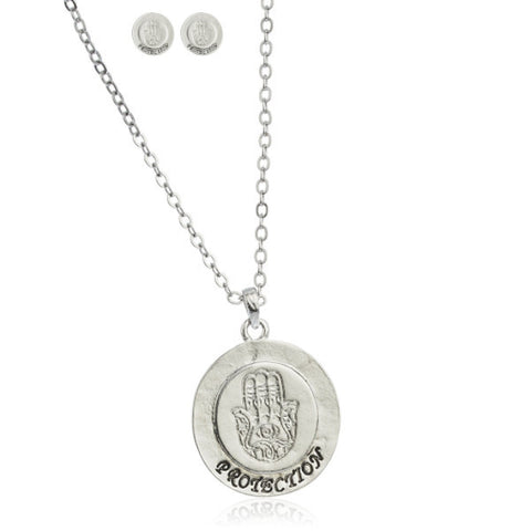 Silvertone Hamsa Protection Pendant 18 Inch Link Necklace With Matching Earrings Jewelry Set