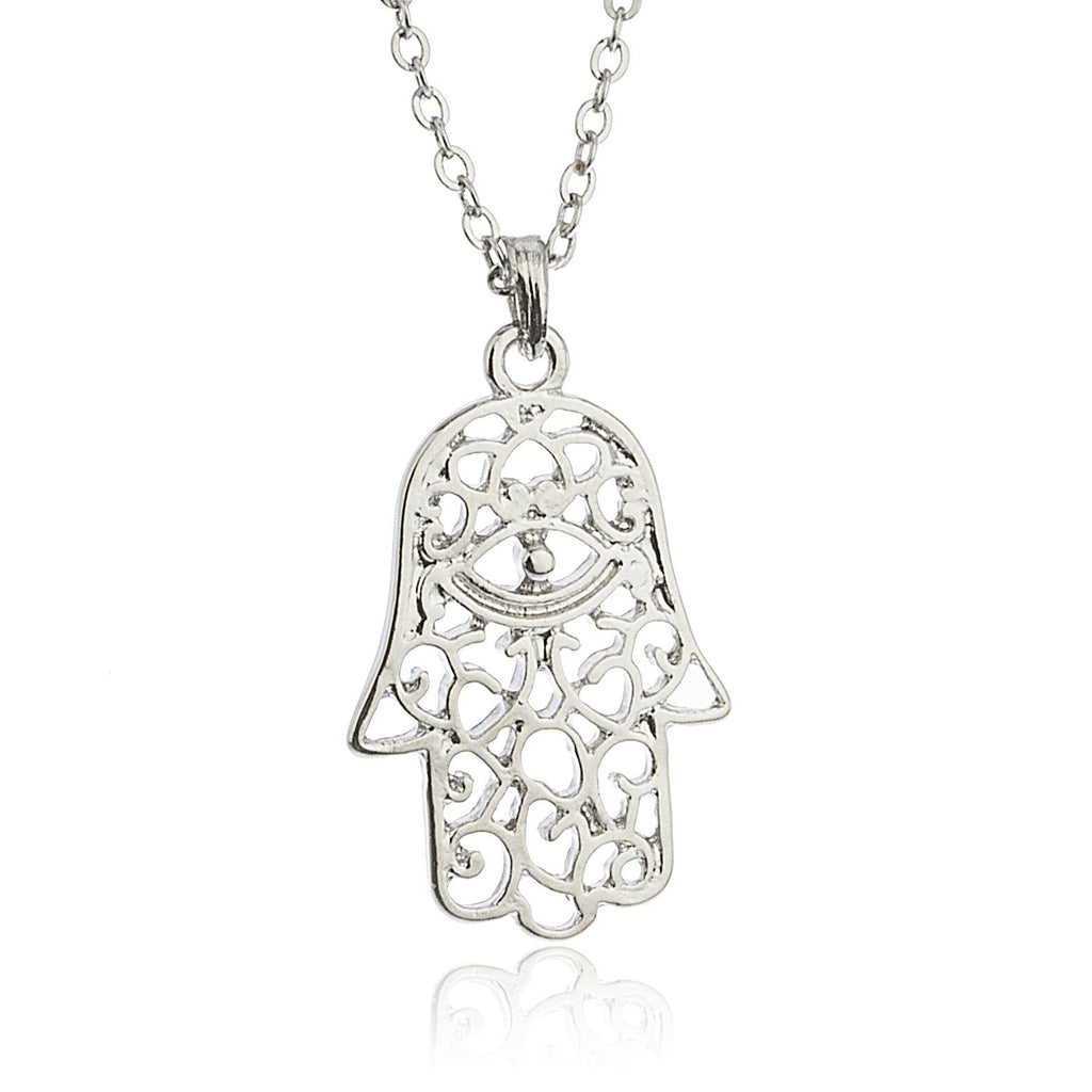 Silvertone Hamsa With Eye Pendant 18...