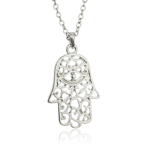 Silvertone Hamsa With Eye Pendant 18 Inch Link Necklace With Matching Earrings Jewelry Set