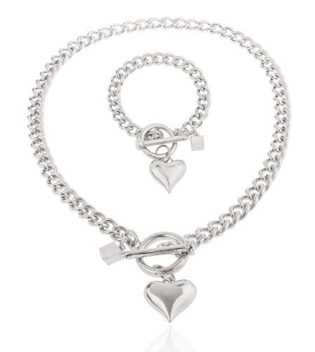 Silvertone Heart Pendant With A 21 Inch Cuban Nail Toggle Link Necklace With A Matching Bracelet Jewelry Set